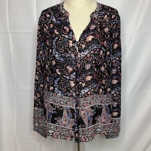 Lucky Brand Floral Paisley Button Up Top